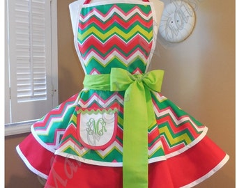 Christmas Chevron Print Woman's Retro Apron With Tiered Skirt And Bib, Featuring Monogrammed Pocket...Last One Available