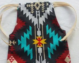 Aztec Indian Blue Upcycled Romper and Headpiece, Photo prop, Indian Newborn outfit