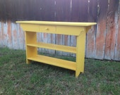Console Table with Drawer and Two Shelves - Sofa Table - Entryway Table - TV Stand with Drawer - Pine 4 Foot, 48""