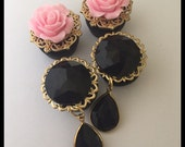 2 PAIRS Gold Pink  Rose Gem Holiday Fancy Girly Ear Guages Plugs
