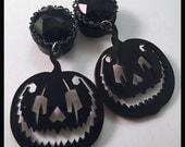 PICK SIZE Black Pumpkin Jack o lantern Acrylic Laser Cut  Dangle Ear Plug Gauges