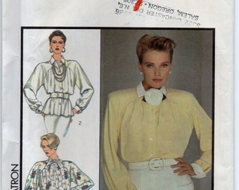 Shirt With Dolman Sleeves And Shoulder Pads Tucked Front And Back Into Yoked Seam Size 12 Blouse Sewing Pattern Style 4972