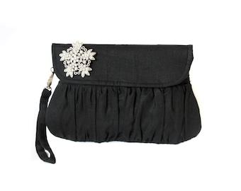 Black clutch with silver rhinestone brooch, snowflake clutch, wedding clutch, bridesmaid clutch, christmas gift