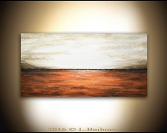 Abstract landscape painting original large contemporary oil painting 24 x 48 sienna amber modern landscape by L.Beiboer