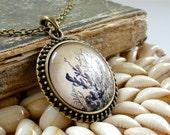 Coral Necklace in Bronze - Antique Biology Print Pendant
