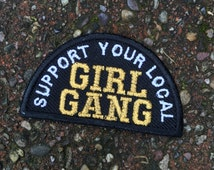 GIRL GANG embroidered iron on patch / feminist embroidery