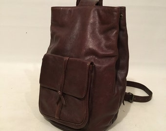 Vintage 90s Brown Leather Faux Strap Backpack Purse Size Medium