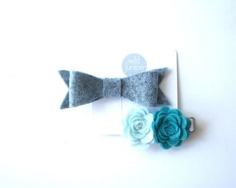 Hair Clip Set in Blue and Gray