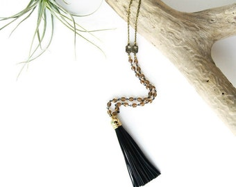 Black Leather Tassel Necklace with Topaz Brown Beading