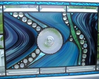 Stained Glass Art Panel|Blue|Turquoise|Blue Art Glass Panel|Abstract|Modern|OOAK|Glass Art|Handcrafted|Made in USA