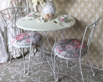 Shabby Ice Cream Parlor Chairs,Pair Bistro Chairs,Cafe chairs,kitchen chairs,Twisted Iron soda fountain chairs,Shabby Cottage pink roses,svf