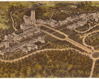 Linen Postcard, Duke University, Durham, North Carolina, Campus from Air, 1935