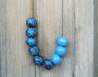 Blue Robin Egg Necklace, Ceramic Necklace, Clay Necklace, Rustic Necklace
