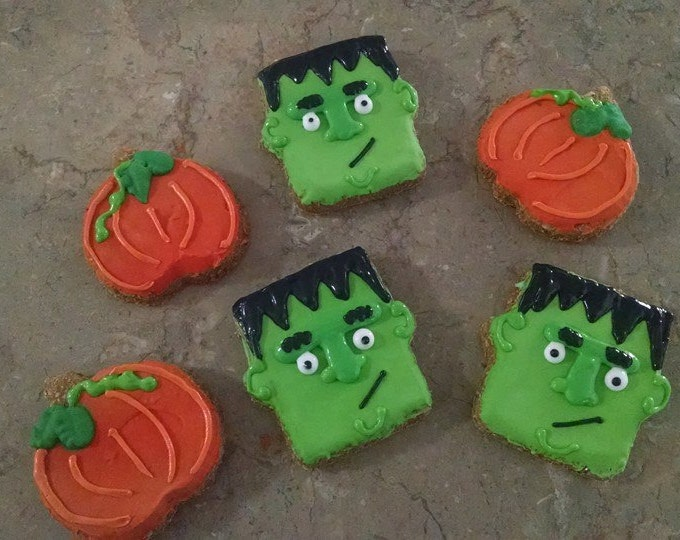 6 Monster Frankenstein and pumpkin Dog Treats Pumpkin flavored Halloween Hauntingly Good