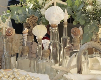 Beach wedding decoration-decorative bottle with natural sea shell