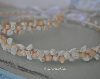 Vintage wedding wreaths with handmade cold porcelain flowers- beach wedding- wedding crown - orthodox stefana - bridal accessories, set of 2