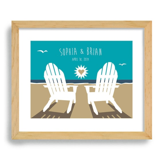 Beach Chairs Wedding Gift - Art Print Personalized For Couples - Ocean ...