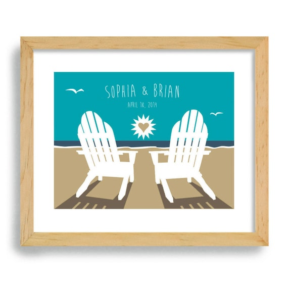 Art Print Wedding Gift : Beach Chairs Wedding Gift - Art Print Personalized For Couples - Ocean ...