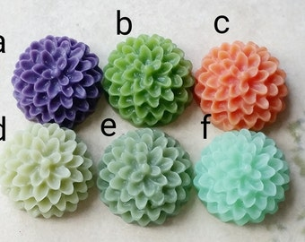 15 mm Resin Dahlia Flower Cabochons of Assorted Colours (.su) (zzb)