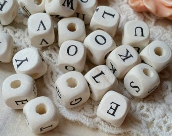 10 mm x 10 mm Alphabet Square Wooden Beads  (.mnt)
