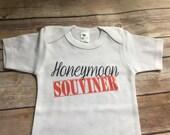 Honeymoon Souvenir Baby One Piece or Shirt (Custom Colors/Wording)