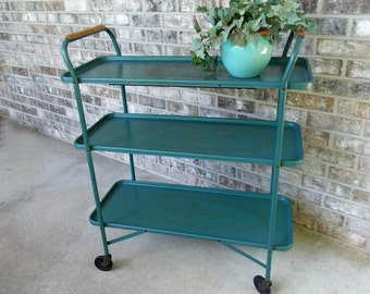 Vintage serving cart tea trolley bar cart Trimble Traytable electric warming shelf tray table cart collectors item rare find teal green