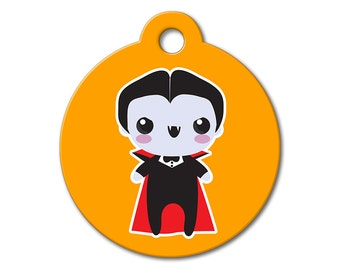 SALE Halloween Dracula Pet Tag - Dog Tags for Dogs - Custom Pet ID Tag for Dogs or Cats, Personalized Dog ID Tag, Sizes Small and Large