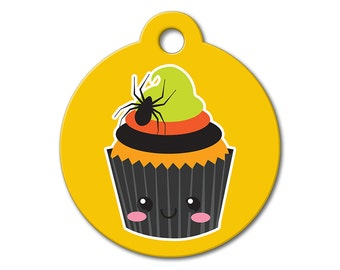 SALE Halloween Cupcake Pet Tag - Dog Tags for Dogs - Custom Pet ID Tag for Dogs or Cats, Personalized Dog ID Tag, Sizes Small and Large