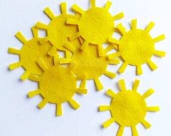 Felt sun, 12 pieces, pre cut felt shape, yellow sun, Scrapbooking Supply, Party Supply