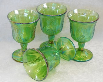 Indiana Iridescent Green Carnival Glass Goblets, Harvest Grape, Set of 4