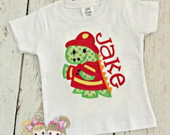 Dinosaur fireman shirt - Fire fighter dinosaur shirt - boys fire fighter shirt - fireman shirt - personalized dinosaur boys shirt