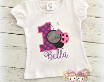 Ladybug birthday shirt - 1st birthday ladybug shirt - ladybug theme - purple and pink ladybug shirt - personalized birthday shirt for girls