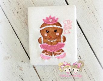 Gingerbread Princess shirt - Christmas ballerina shirt - personalized gingerbread princess ballerina - Christmas holiday shirt for girls