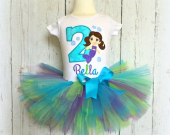 Birthday Mermaid Tutu Outfit- Green, Blue, and Purple- Birthday Tutu Set- Custom embroidery