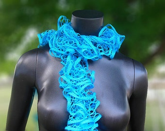 Bright Blue, Handmade Scarf, Blue Scarf, Knitted Scarf, Gifts For Women, Gifts For Her, Ruffled Scarf, Scarf Gift, Long Scarf, Soft Scarf