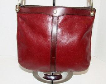 Burgundy Oxblood Leather Vintage JOHN ROMAIN Shoulder Purse Bag 060116