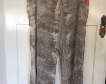 Natural dyed linen pants upcycled bush dyed leaf printed mauve grey LARGE