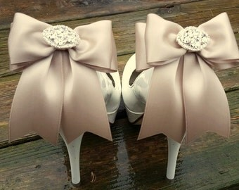 Wedding Shoe Clips,Bridal Shoes Clips, Rhinestone Shoe Clips,Iced Coffee, MANY COLORS, Bow Shoe Clips, Clips for Wedding Shoes, Bridal Shoes