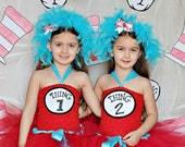 Thing 1 Thing 2 headpieces - Dr Seuss Birthday - Pageant hair - Dr Seuss - Cat In The Hat - Thing 1 - Thing 2 - Dr Seuss Celebration
