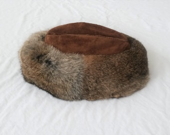 Vintage Fur Hat Rabbit Fur Hat Leather and Fur Suede Hat Leather Hat Leather and Suede Vintage Hat 50s Hat 60s Hat Brown Fur
