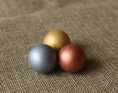 Mixed colors wooden beads -  silver gold rose gold - set of 15 - 25 mm wood beads - hand painted beads - 1 inch beads