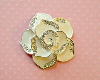 "White Rose Cabochons. 1 5/8"". White Rose Rhinestone Cabochons. Qty: 1 Cab"