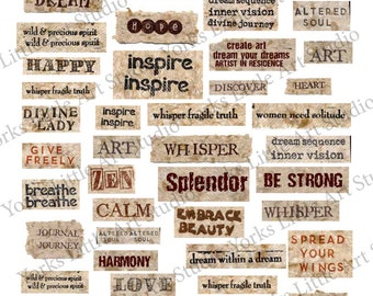 Digital Download of 3 Pages full of Words for Mixed Media Art
