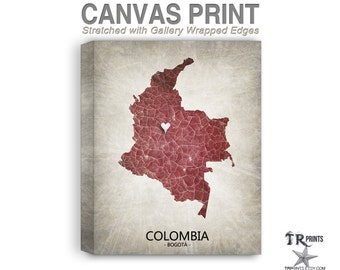 Colombia Map Stretched Canvas Print - Home Is Where The Heart Is Love Map - Original Personalized Map Print on Canvas