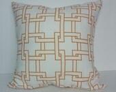 Orange & White Geometric Thom Filicia Pillow Cover, Throw Trellis Pillow Cushion, Kravet City Pillow Cover, 20 x 20