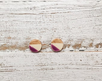 Ceramic Disc Earrings, Orchid, Rose Gold, Unique Gift, Modern, Gift for Her, Minimal, Ceramics, Unique Jewelry, Ceramic Jewelry