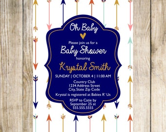 Baby Shower Invitation- Arrows
