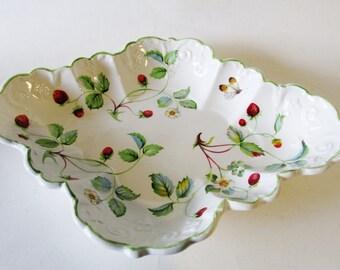 Old Foley James Kent Porcelain Dish, Wild Strawberries Serving Dish