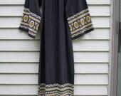 RESERVED-Vintage Embroidered black Guatamalan Caftan ala 1970s