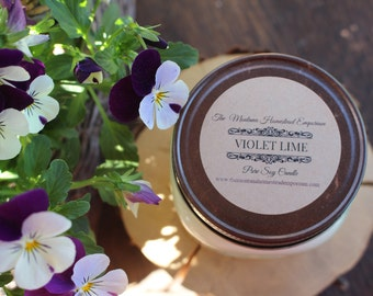 VIOLET LIME scented all natural pure soy candle square MASON jar candles handpoured refreshing summer scents made in Montana candles